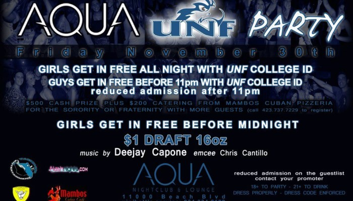 UNF PARTY THIS FRIDAY AT AQUA!!