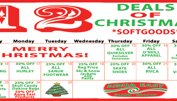 12 DEALS of CHRISTMAS at Aqua East Jacksonville Beach