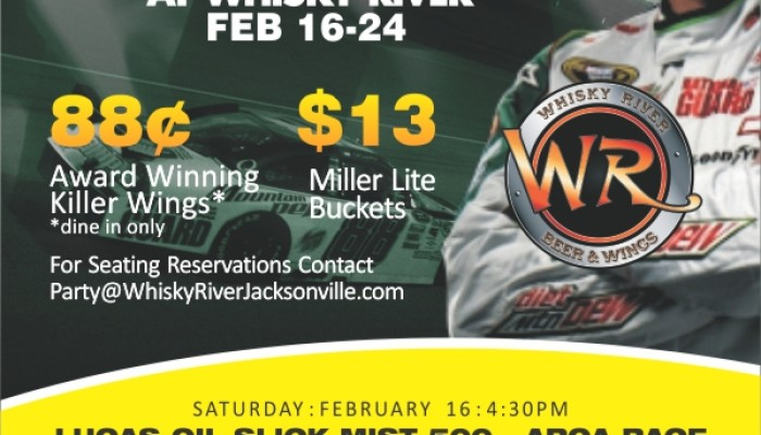 Daytona Speed Weeks Feb 16-24 at Whisky River