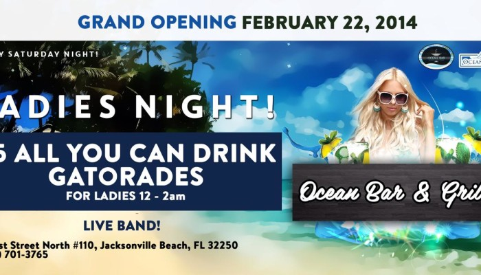 Ocean Grille And Bar – Ladies Night Sun Feb 23, 2014
